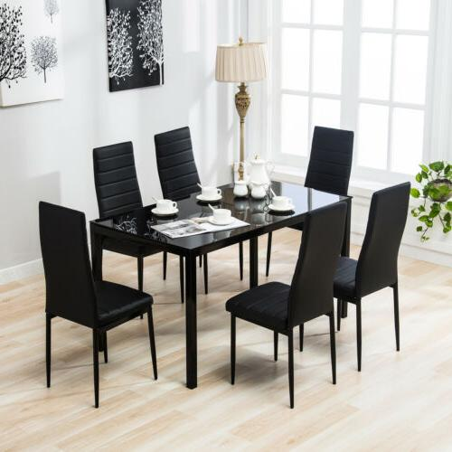 7 Pieces Dining Set Glass Table 6 Leather Chairs Kitchen Din