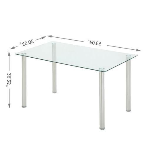 7 Dining Table Set Clear Metal Kitchen Room Breakfast