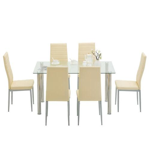 7 Dining Set Clear Glass Metal Kitchen Room Breakfast