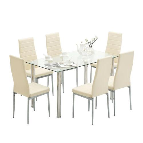 7 Dining Table Set for Chairs Clear Room