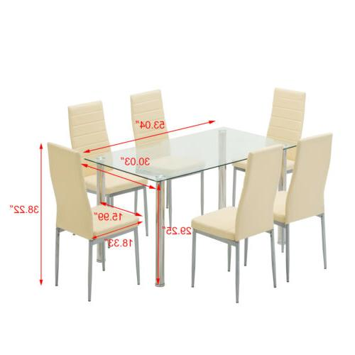 7 Piece Set Chairs Clear Glass Room