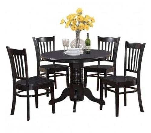 Black Set Casual Table 4 Chairs Solid Furniture