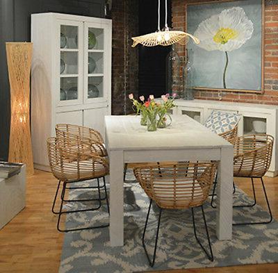 Block Legs White Dining Table Rattan Chairs Cushion 7piece