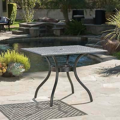 Cayman Outdoor Cast Aluminum Dining Table  by Black