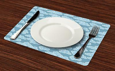 Cloud Placemats 4 Washable Fabric