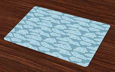 cloud placemats set of 4 washable fabric