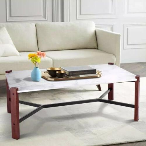 Giantex Cocktail Table White Marble Top