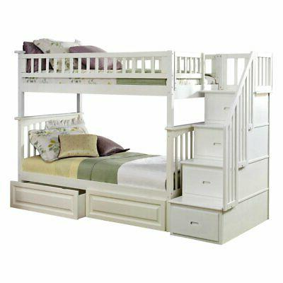 columbia staircase twin over twin bunk bed