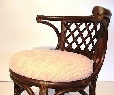 Dining Oval Table w/Glass 2 Natural Rattan, Dark Brown