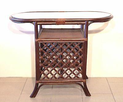Dining Oval w/Glass 2 Chairs Natural Rattan, Dark Brown