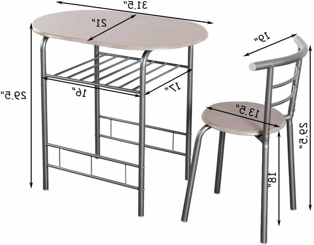 Dining 2 Chairs Kitchen 3 PCS Furniture