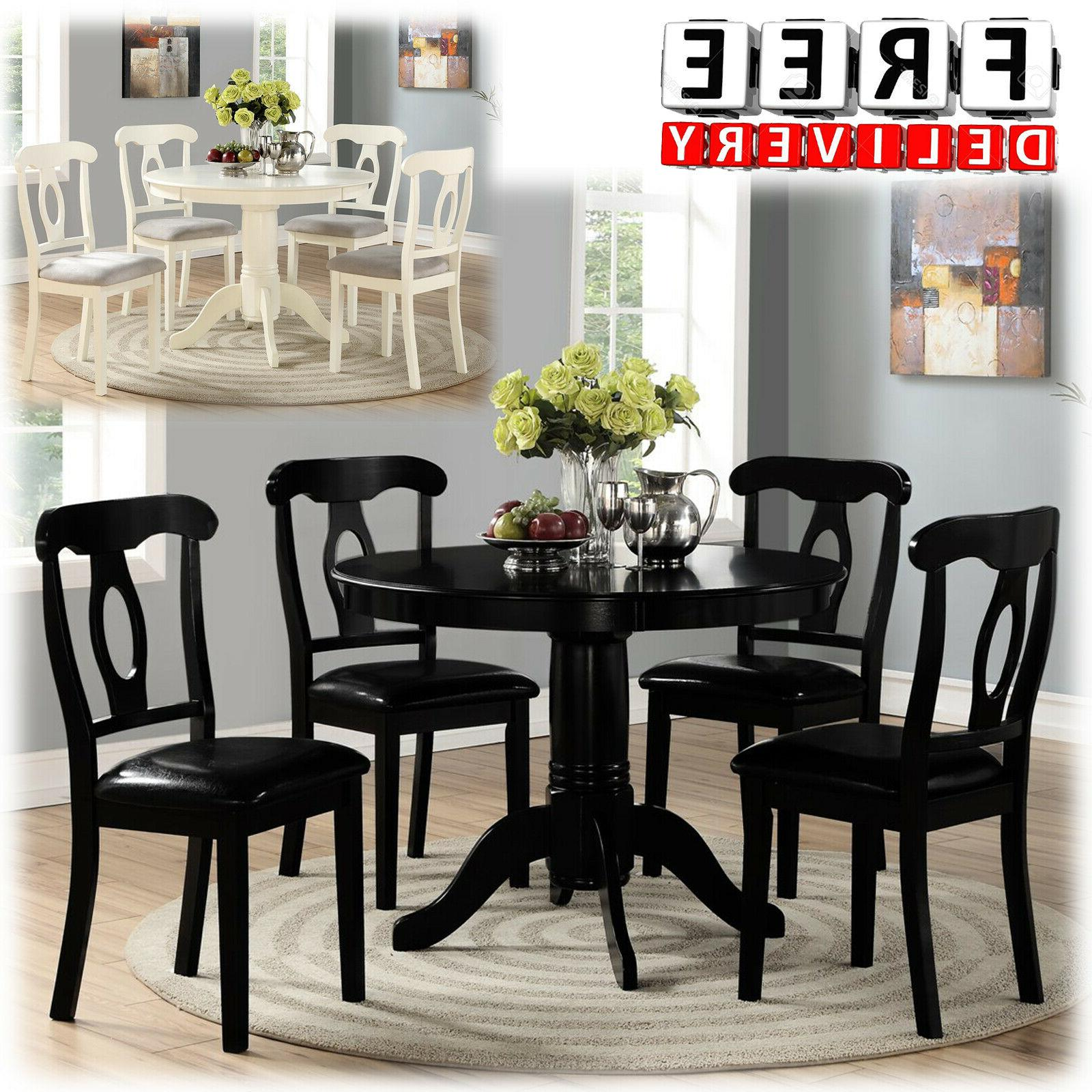 Dining Table And Chairs Room 5 Piece Wood Modern Contemporar