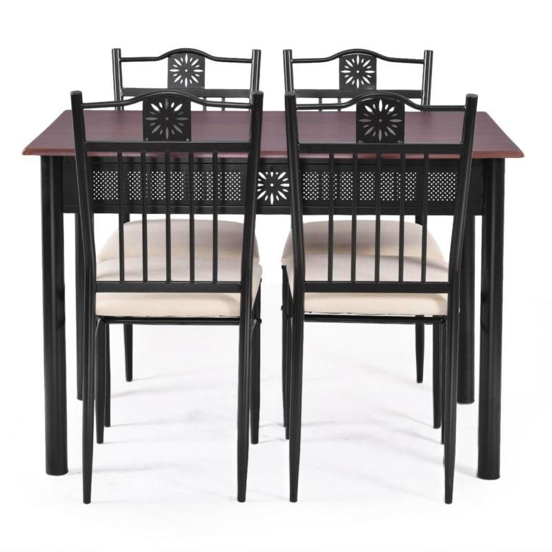 Dining Table Set 4 Wood Saver Furniture Chairs Cushions