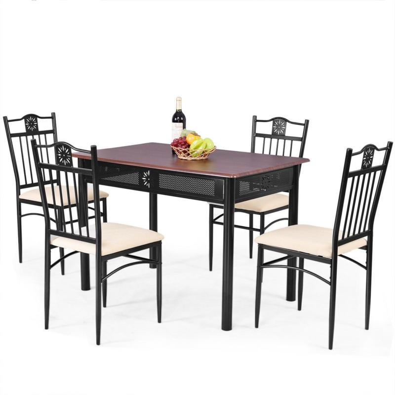Dining 4 Wood Metal Saver Furniture Chairs with Cushions