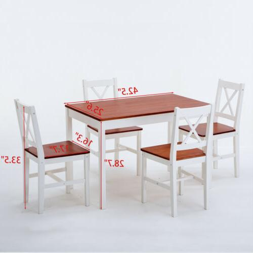 Dining Set 5 with Chairs Wood
