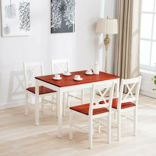 Dining Table 5 with 4 Chairs Kitchen Furniture Wood