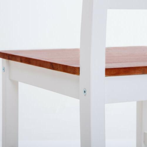 Dining Table Set Chairs Wood Red