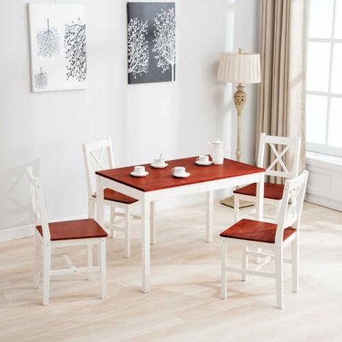 Dining 5 4 Dinette Wood Red