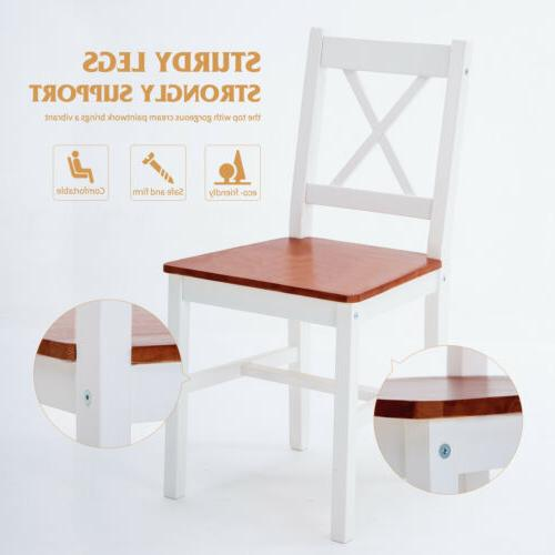 Dining Set Chairs Kitchen Pine Wood