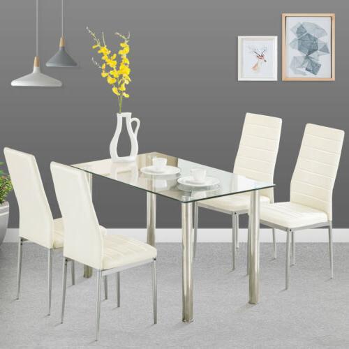 5 Set 4 Chairs Glass Metal Room