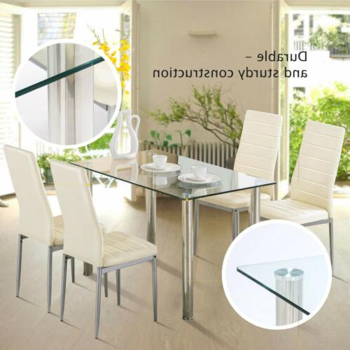 5 Dining Table Set Glass Room Furniture