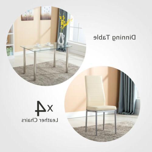 5 Set 4 Chairs Glass Metal Room Furniture