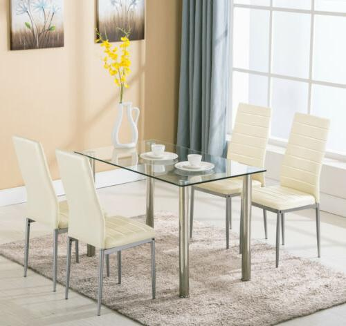 5 Set with Glass Metal Room Furniture