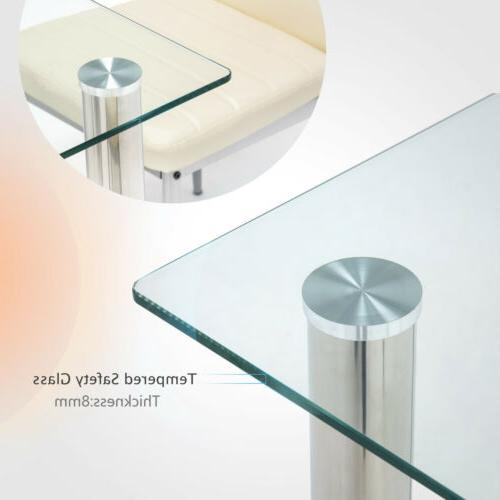 Set with Glass Metal Kitchen Room Furniture