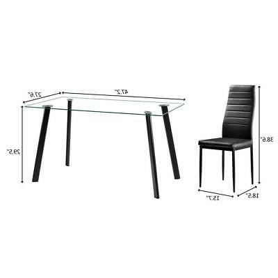 Hot Dining Table 4 Glass Kitchen Room Furniture
