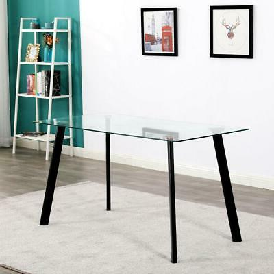 Hot Piece Dining Table Set Glass Metal Kitchen Furniture