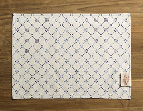 100% Set of 4 Placemats Inch by Inch