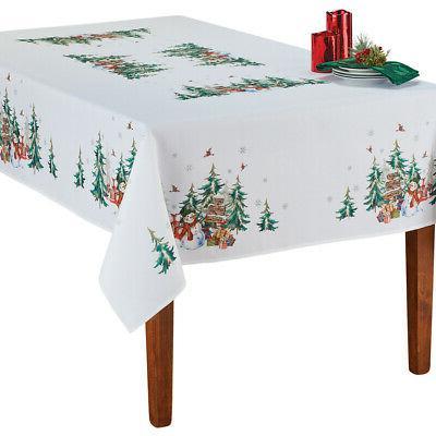 festive snowman printed holiday tablecloth seasonal dining