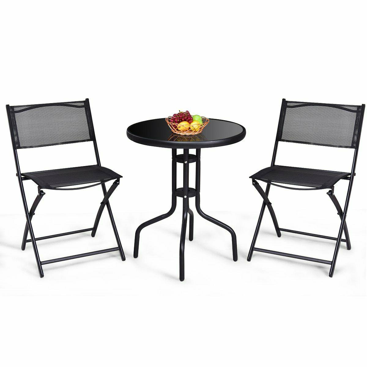 3 Pc. Bistro w/ Round Steel Reinforced Glass Table Chairs