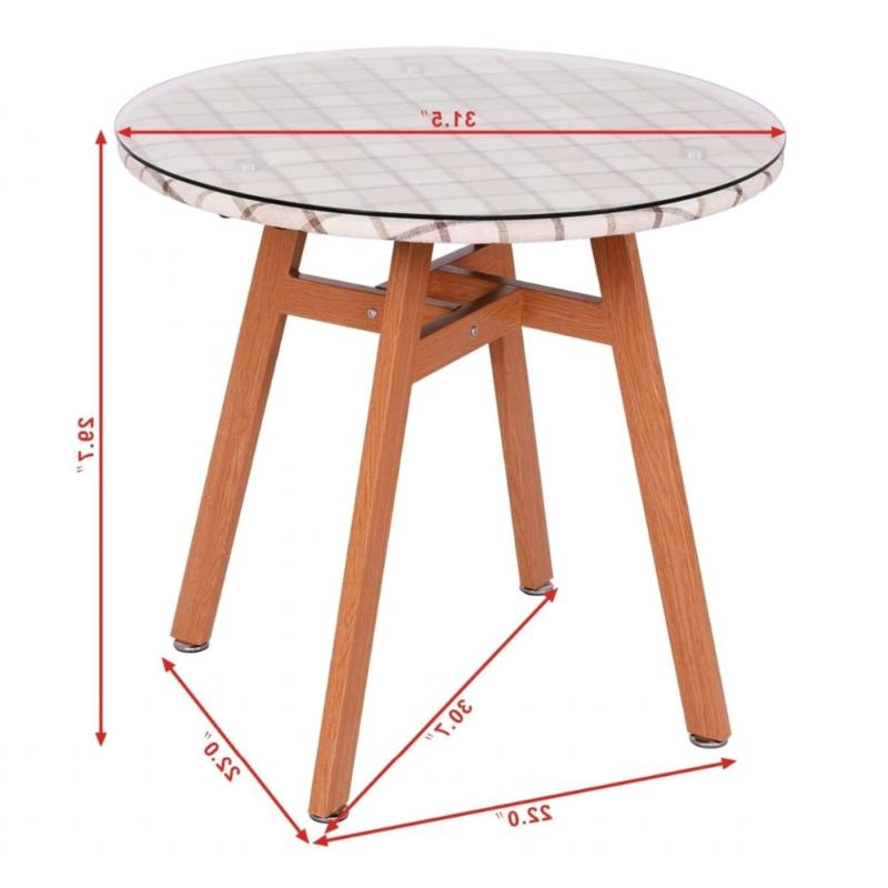 Goplus Round Dining Table Steel Tempered Glass Leg