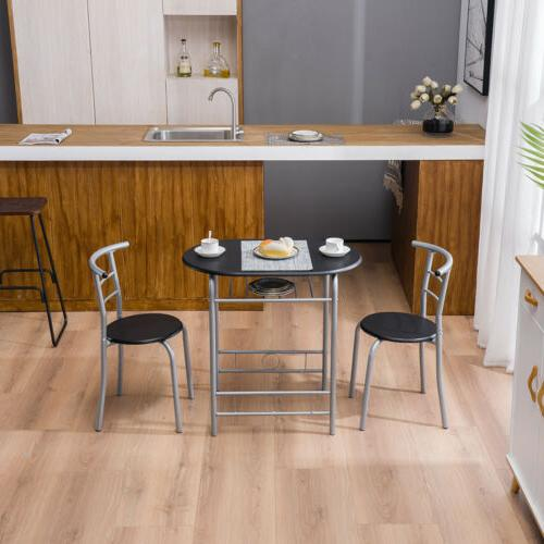 High 3PCS Metal Dining Table and 2 Kitchen Room