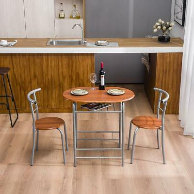 Home Kitchen 3 Dining Set 2 Chairs Pub Breakfast Furniture