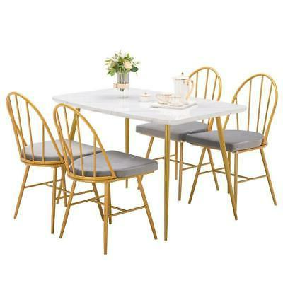 Hot 5 Piece Dining Metal Dining Restaurant White