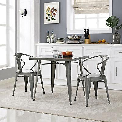Modern Alacrity Dining Table-Gunmetal