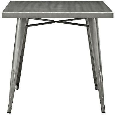 Modern Alacrity Square Metal Dining Table-Gunmetal