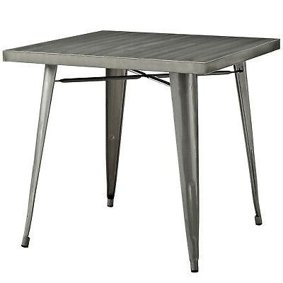 modern alacrity square metal dining table gunmetal