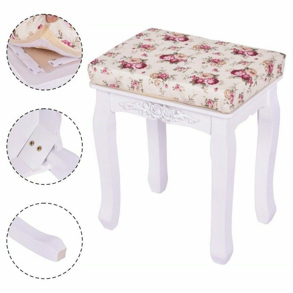 modern white vanity wood dressing stool padded