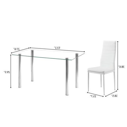 3 Types Popular Glass Metal Table and 6 Chairs Set Kitchen D