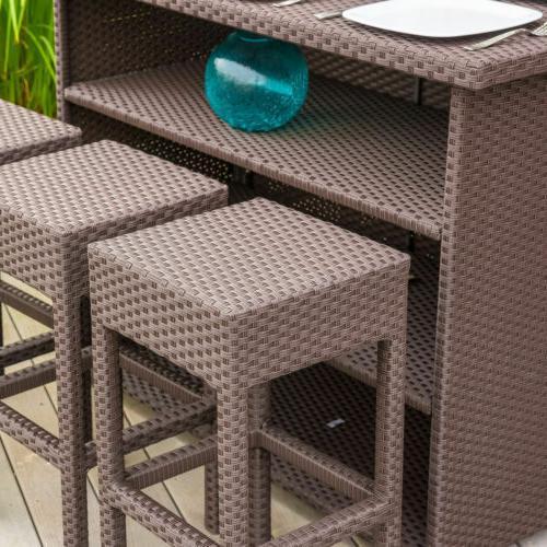 Outdoor Bar Set Lawn Patio Garden Dining Stools Wicker Furniture NEW