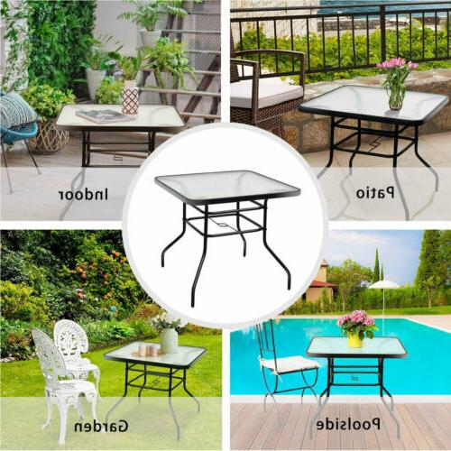 Patio Outdoor Lawn Glass Top All Weather Table Square
