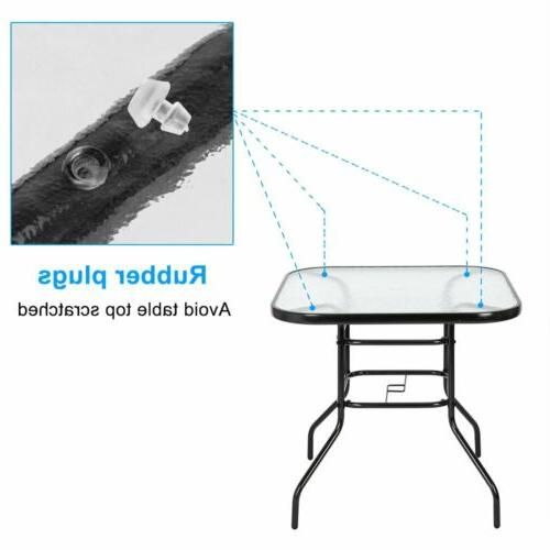 Patio Table Outdoor Lawn Glass All Weather Dining Bistro Square