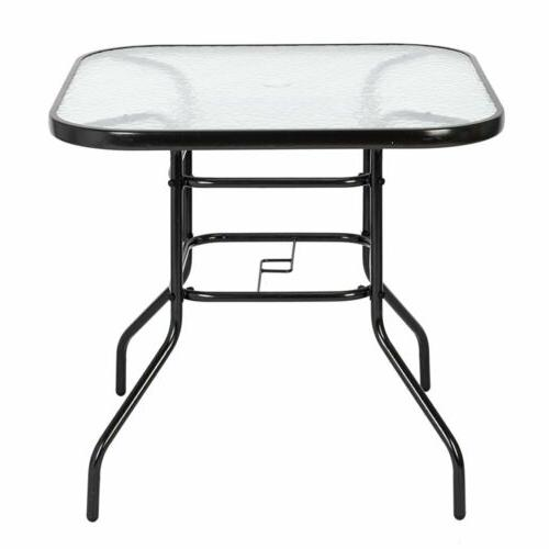 Patio Table Lawn Glass Weather Dining Bistro Table Square