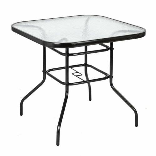 patio table outdoor garden lawn glass top