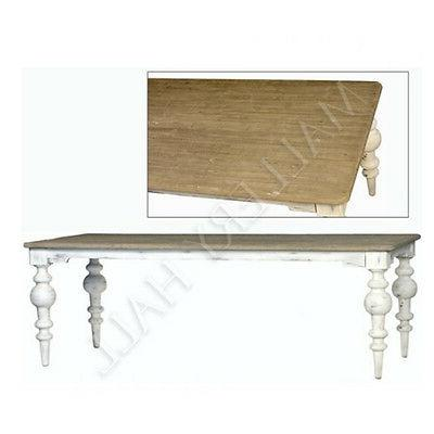 Pine White Base Dining Table Turned Base French Country