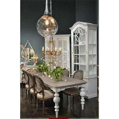 pine top white distressed base dining table