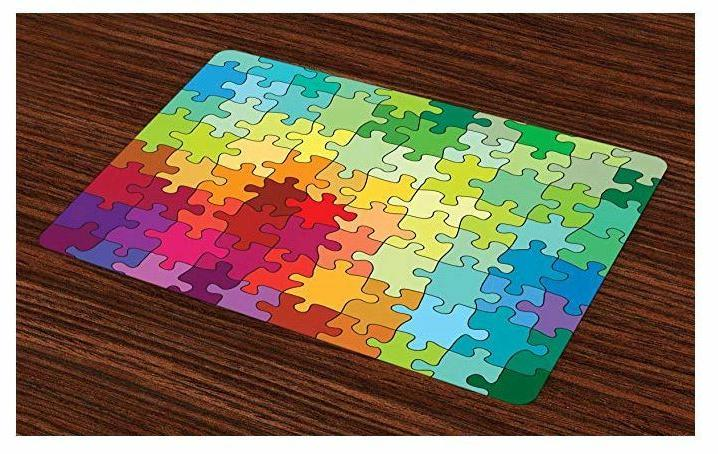 Placemat Dining 4 Puzzle Fabric